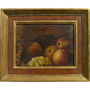 English 19th century still life painting of grapes and apples and basket