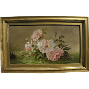 Antique late 19th century American still life painting of roses and daisies