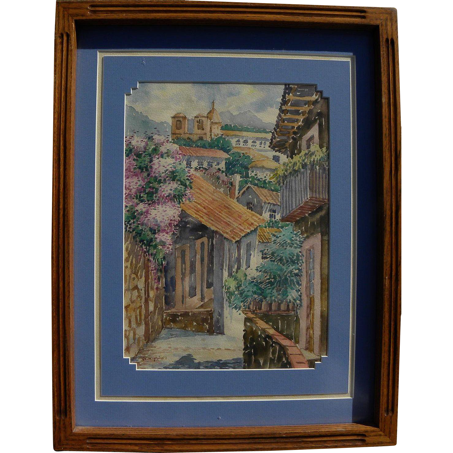 Signed South American or Mexican watercolor of church and rooftops