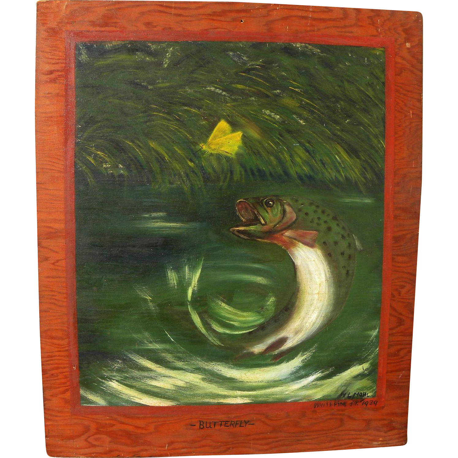 Vintage painting of a jumping trout 1939 cabin art