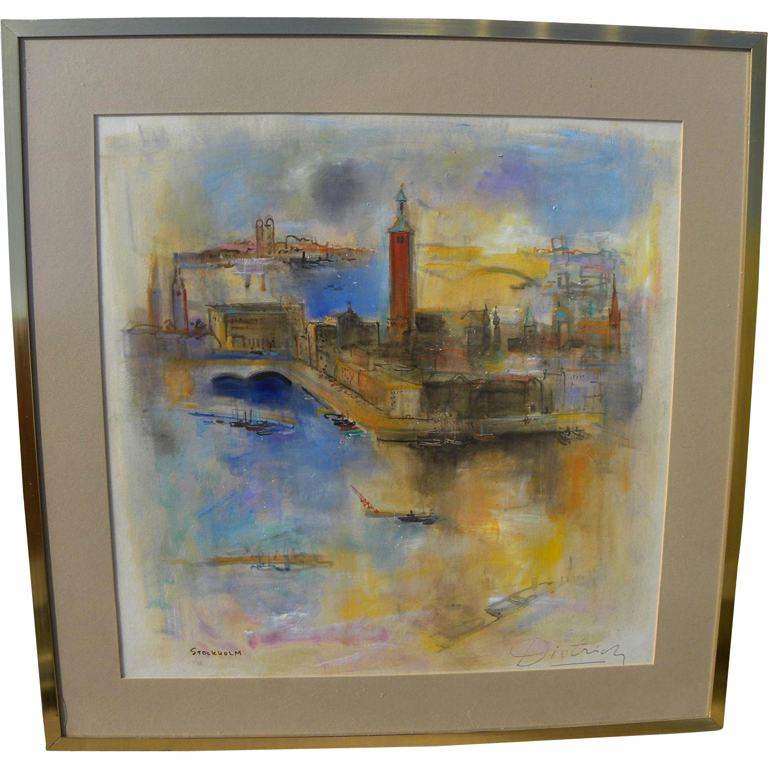 HERMANN DIETRICH (1916-2003) original mid century watercolor painting of Stockholm Sweden by listed California impressionist artist