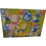 Whimsical original watercolor painting of teddy bears and children's blocks ideal for a nursery ...