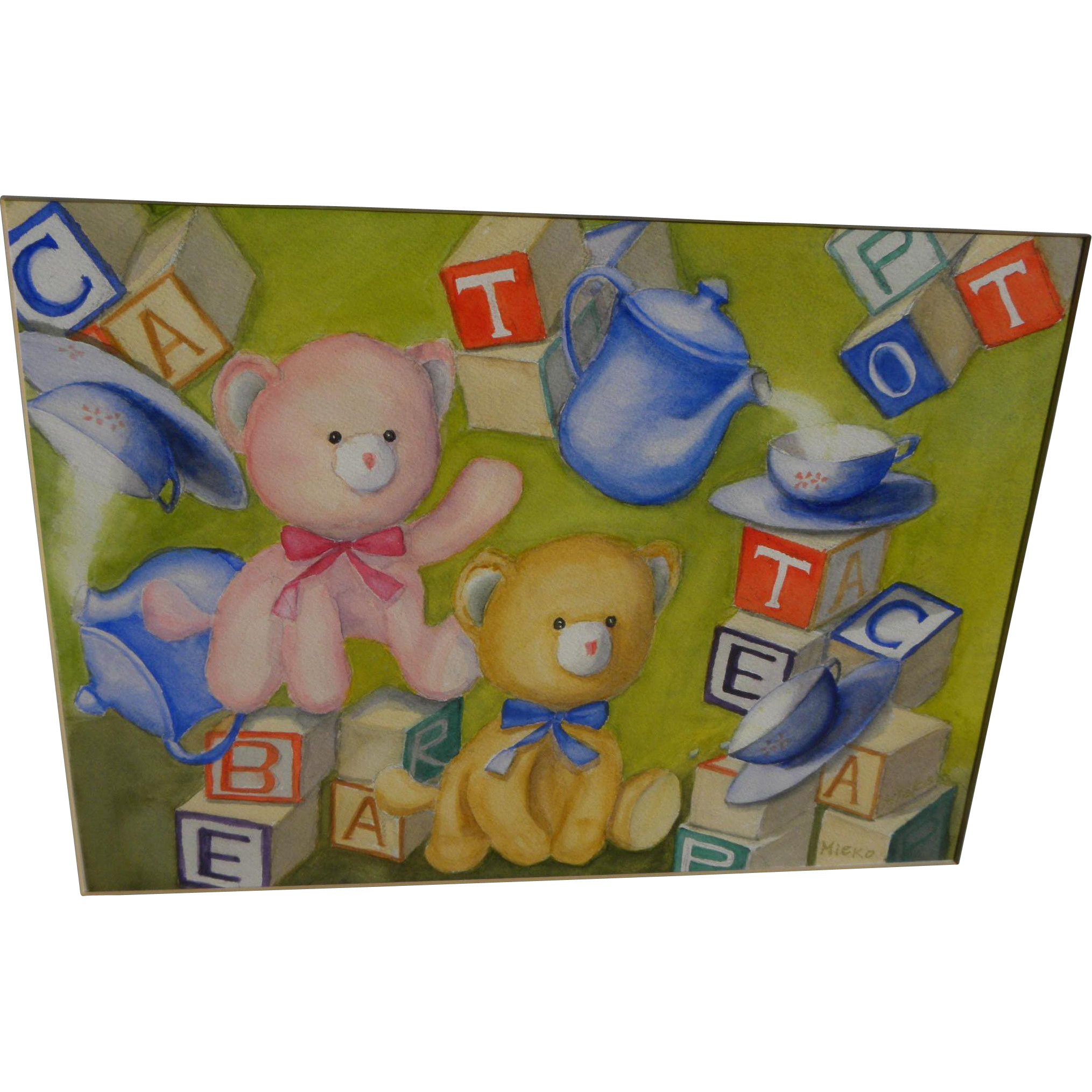 Whimsical original watercolor painting of teddy bears and children's blocks ideal for a nursery or child's room