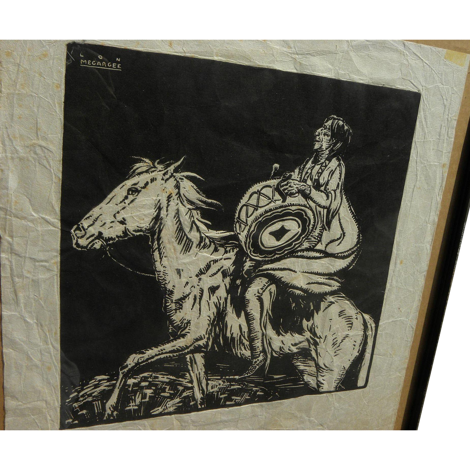 LON MEGARGEE (1883-1960) block print of Native American on horseback by major Arizona artist