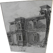 Fine detailed 1973 pencil drawing of a Victorian house signed David