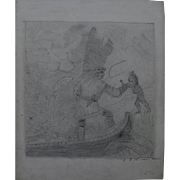 Early to mid 19th century signed pencil drawing of indians clashing with settlers in America