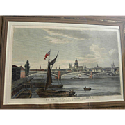 English 1822 hand colored engraving of Southwark Iron Bridge London