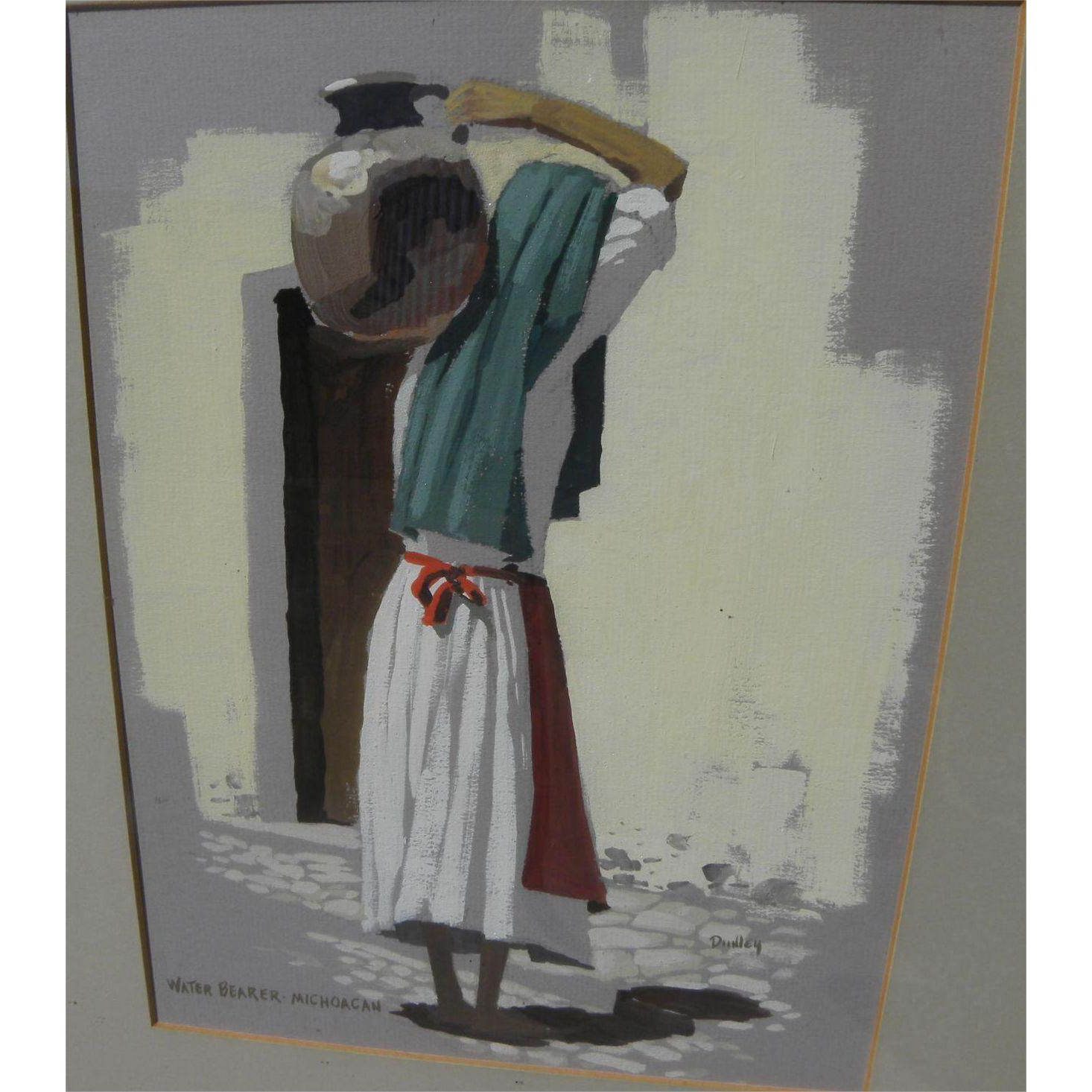 JACK DUDLEY (1918-1996) gouache painting of Mexican woman carrying water jug by listed California artist
