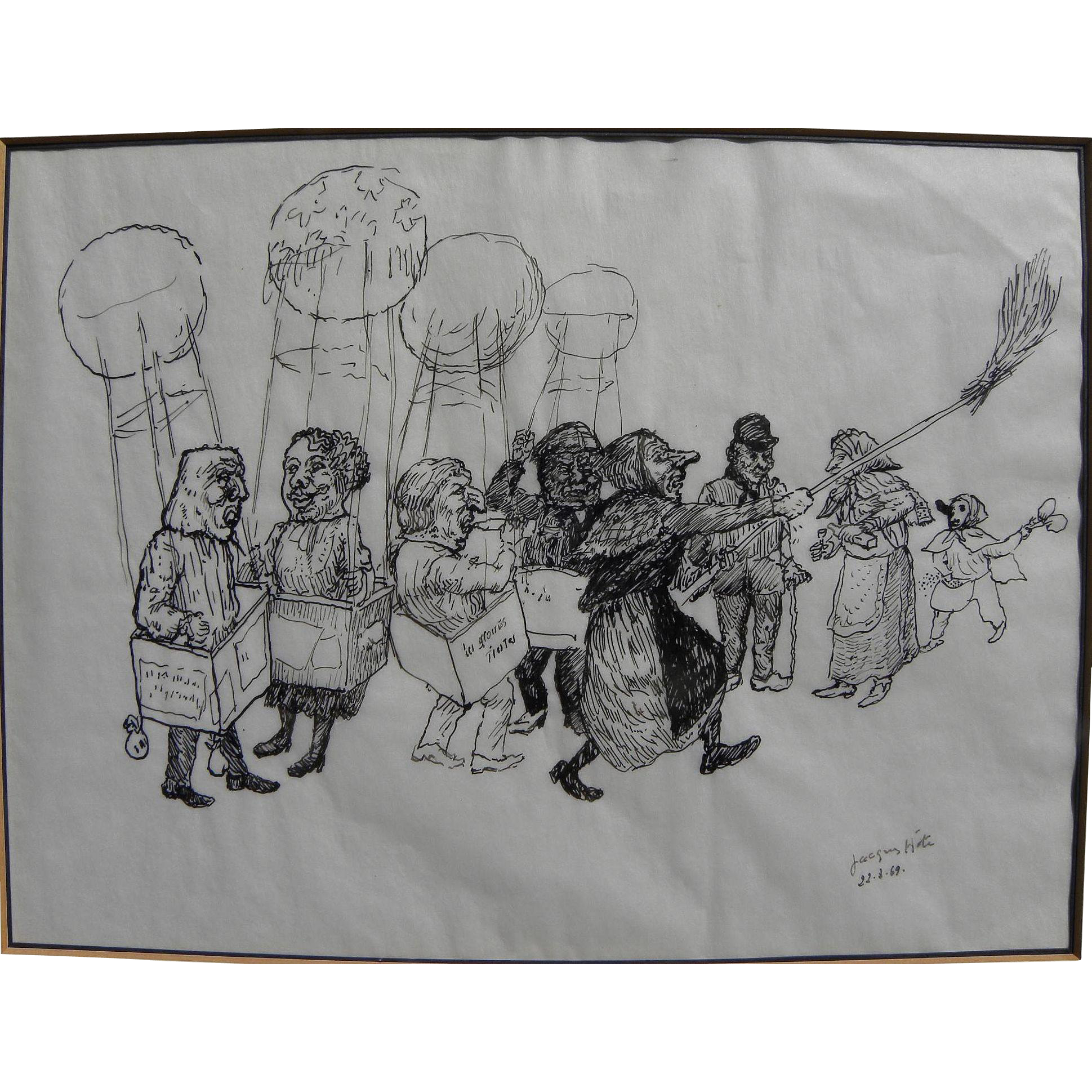 JACQUES HOTE (1939-1986) Belgian artist fine ink drawing of figures