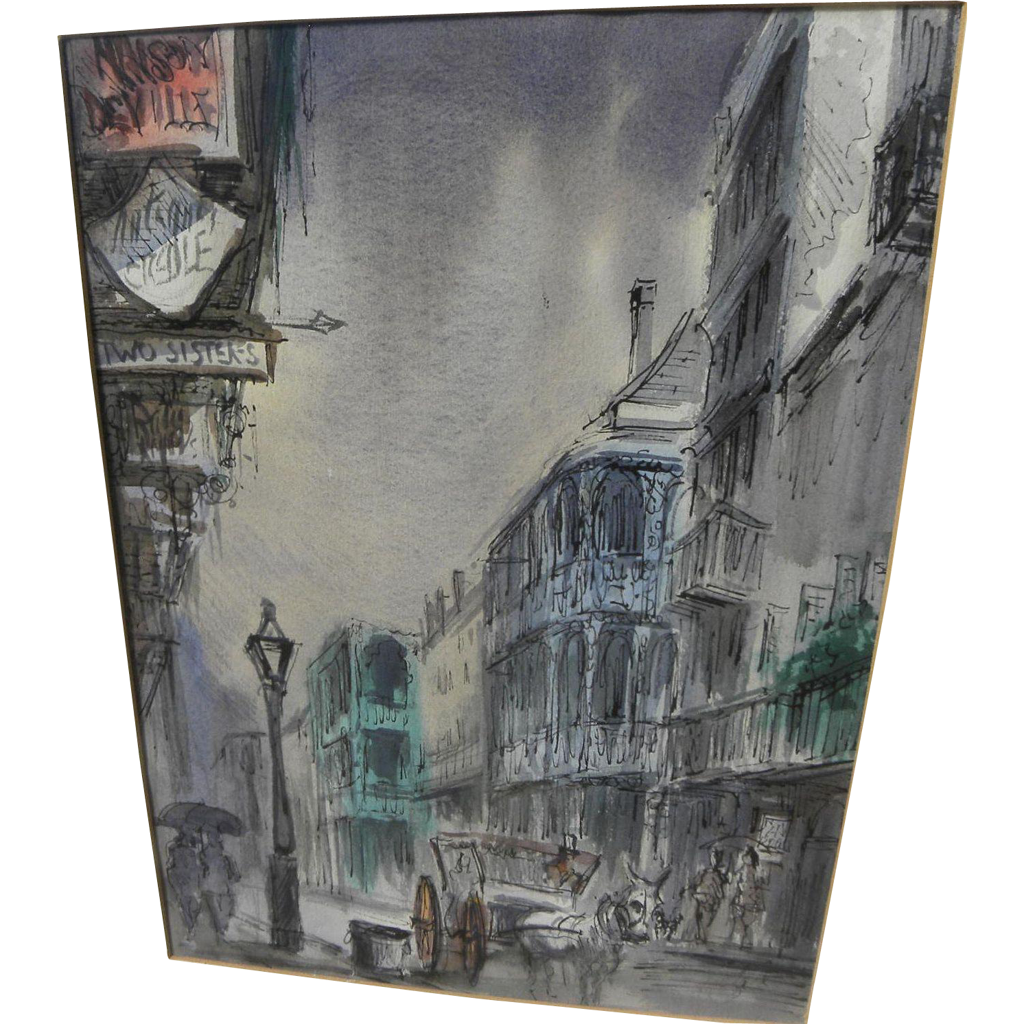 TOM LANE (1916-1991) Louisiana art watercolor painting of French Quarter New Orleans Rue Royale