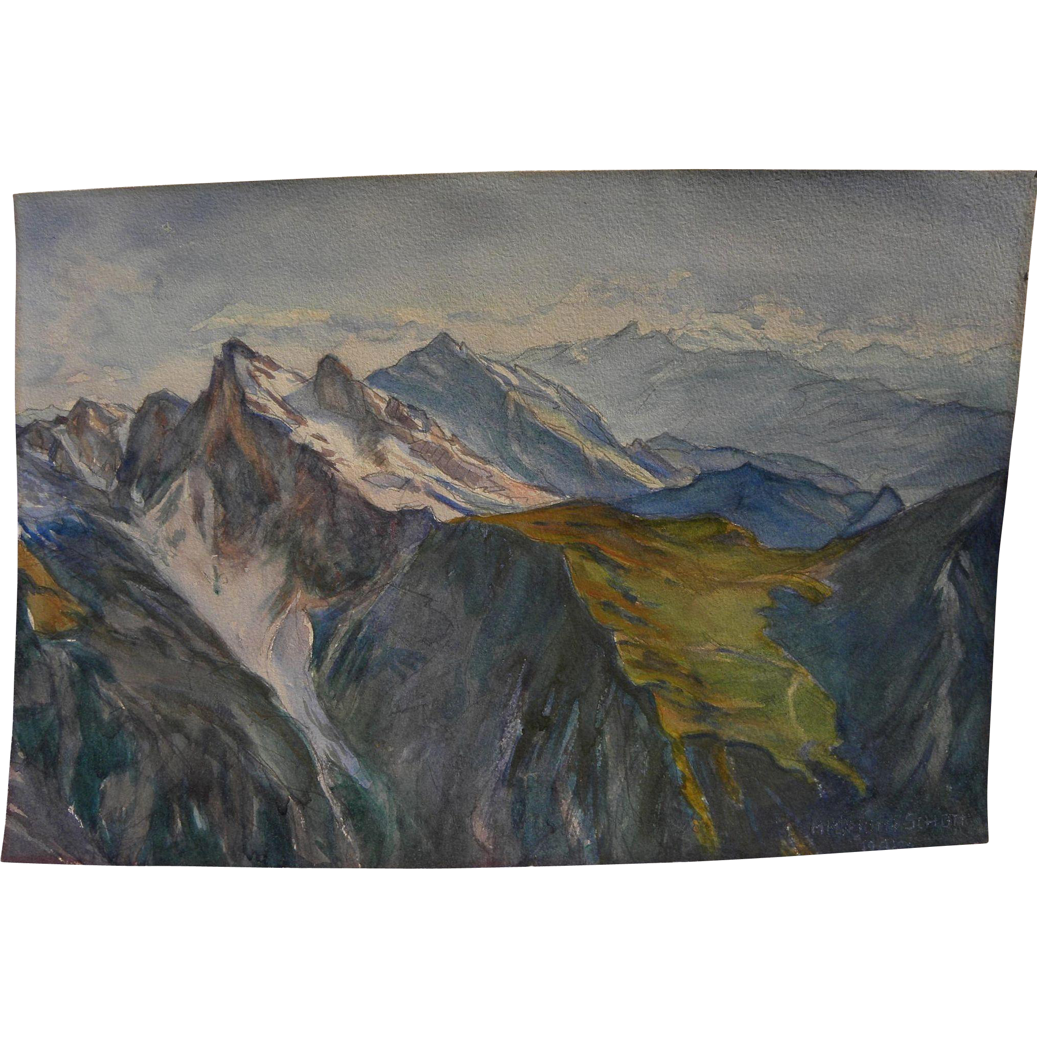 HELMUTH SCHOTT 1924 signed Austrian watercolor painting of alpine landscape