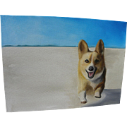 Contemporary painting of a corgi dog