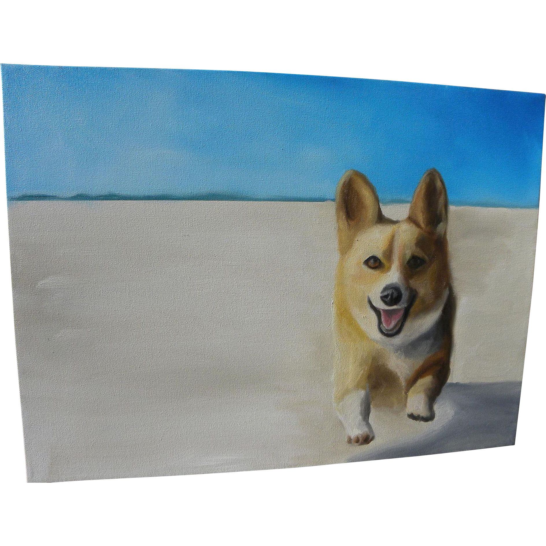 Contemporary painting of a corgi dog