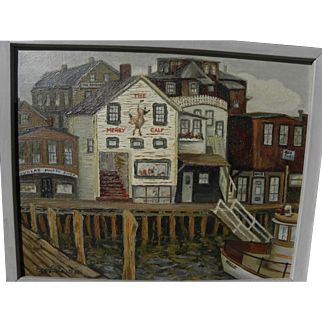 ETHEL SHOWALTER circa 1950's impressionist painting of Boothbay Harbor Maine