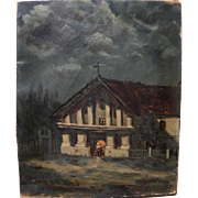 Early California art circa 1890's moonlight nocturne painting of Mission Delores in San Francisco