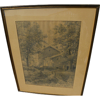 HIRAM H. GREEN (1865-1930) large charcoal drawing of house in a landscape by listed American artist