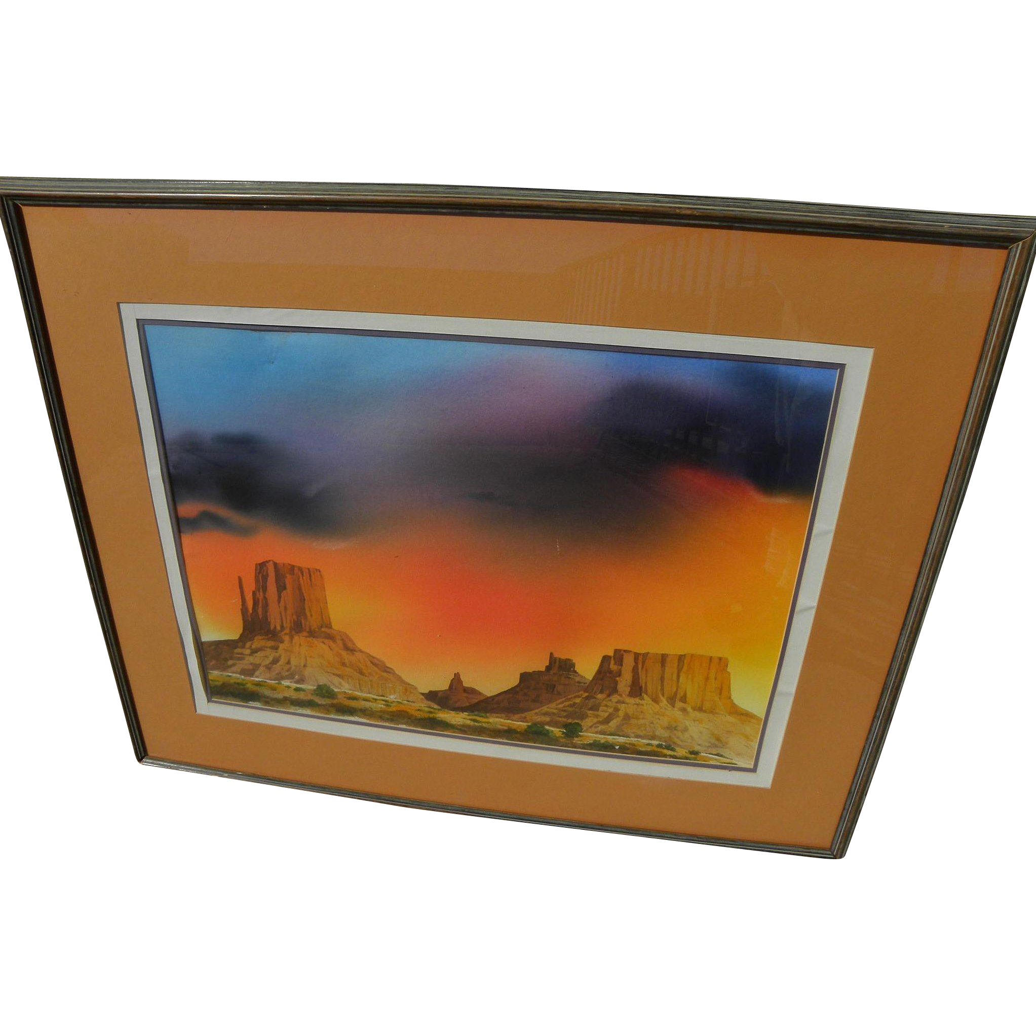 Large fine watercolor painting of Monument Valley Arizona