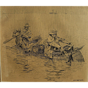 HENRY SUMNER WATSON (1868-1933) sporting art original ink illustration drawing of two fishermen in a canoe for Outing Publishing Co. 1907