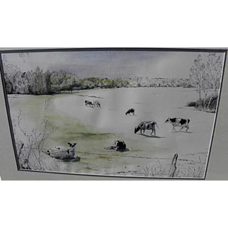 SAM SMITH (1918-1999) listed New Mexico art fine watercolor painting of cows in a field