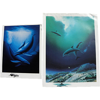 ROBERT WYLAND (1956-) **two** signed color prints EACH with **ORIGINAL DRAWING** by the artist in margin