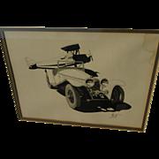 Original illustration art ink drawing of old biplane and early car signed Lantz