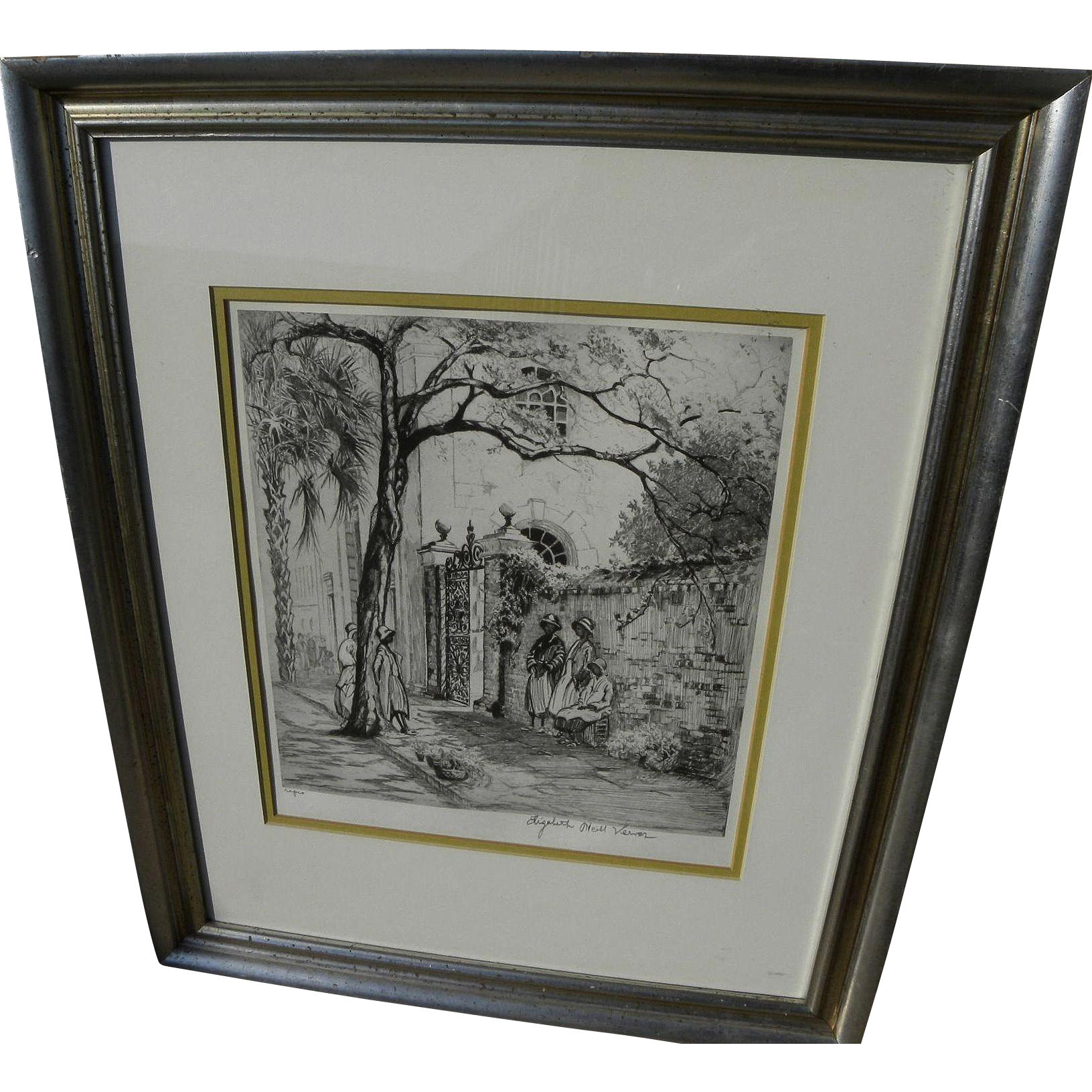 "ELIZABETH O'NEILL VERNER (1883-1979) South Carolina art print ""Springtime in Charleston"" pencil signed"