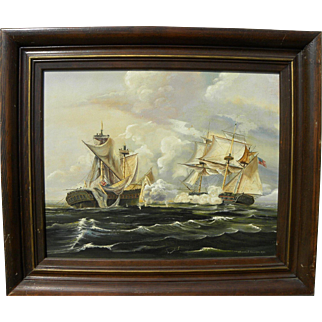 Marine art detailed gouache and watercolor painting of warships in the War of 1812 signed Gordon Bracher 1965