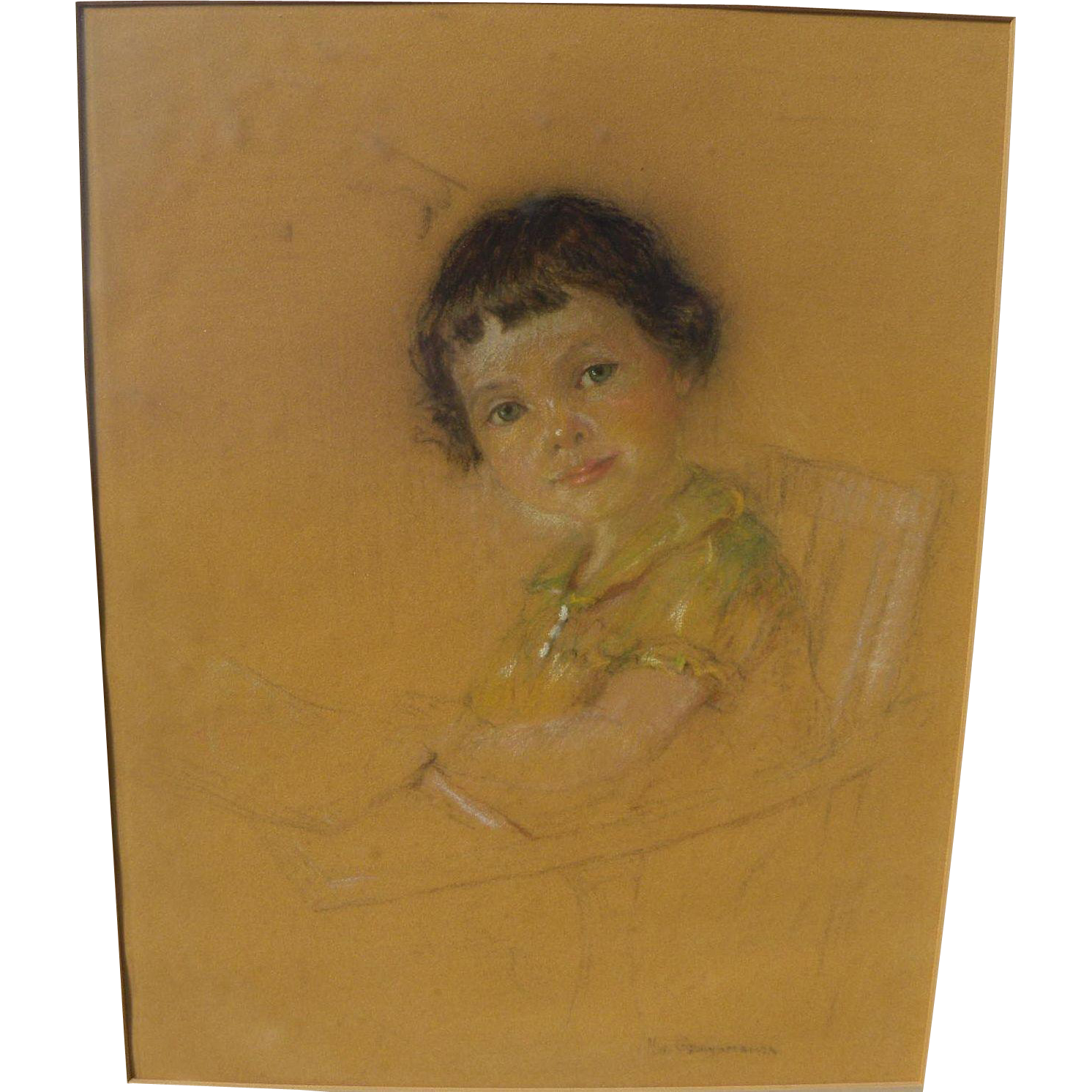 NICHOLAS DE GRANDMAISON (1892-1978) Canadian art pastel drawing of a young girl by important master