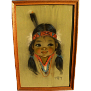 GERDA CHRISTOFFERSEN (1917-2012) original pastel on paper drawing of Native American girl