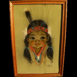 GERDA CHRISTOFFERSEN (1917-2012) original pastel on paper drawing of Native American girl