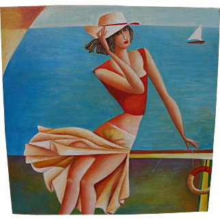 Whimsical painting on canvas of flirty young woman in sundress by the seashore