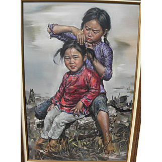 KEE FUNG NG (1941-) Chinese contemporary art large painting of young girls