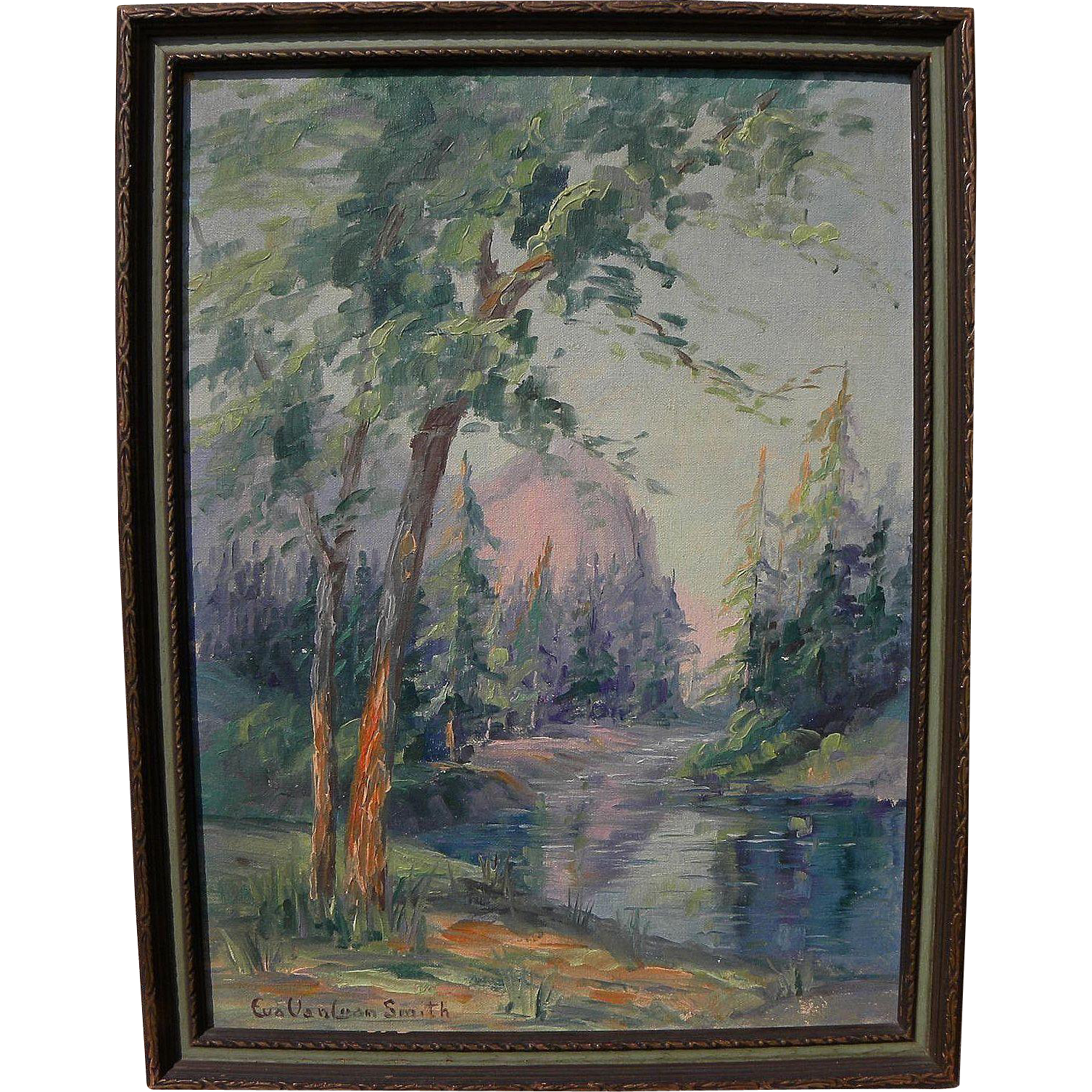 EVA VANLOAN SMITH (1890-1982) California plein air art landscape painting possibly Yosemite