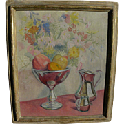 American impressionist signed circa 1940 still life painting in actual Newcomb-Macklin frame