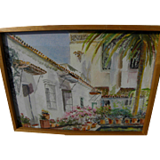 Impressionist watercolor painting of Mediterranean or Spanish style courtyard and buildings