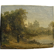 19th century antique old Russian landscape painting signed N VLASENKOV