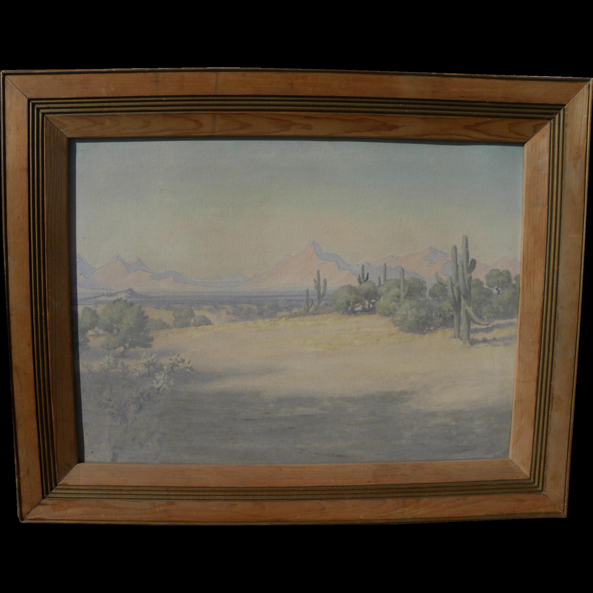 Southwestern American art impressionist Arizona desert painting circa 1950's