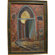 GEORGE CASTLEDEN (1861-1945) Louisiana art small painting of Slave Door New Orleans