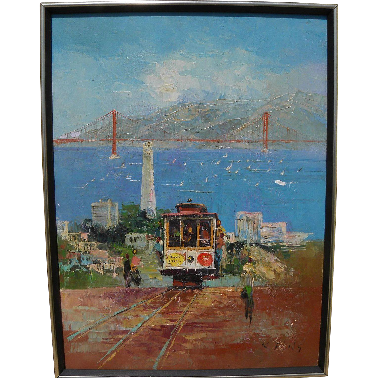 KEE FUNG NG (1941-) impressionist painting of San Francisco California by noted Chinese emigrant artist