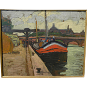 ERVIN KORMENDI-FRIM (1885-1939) post-impressionist painting of boat at river dock by Hungarian master artist