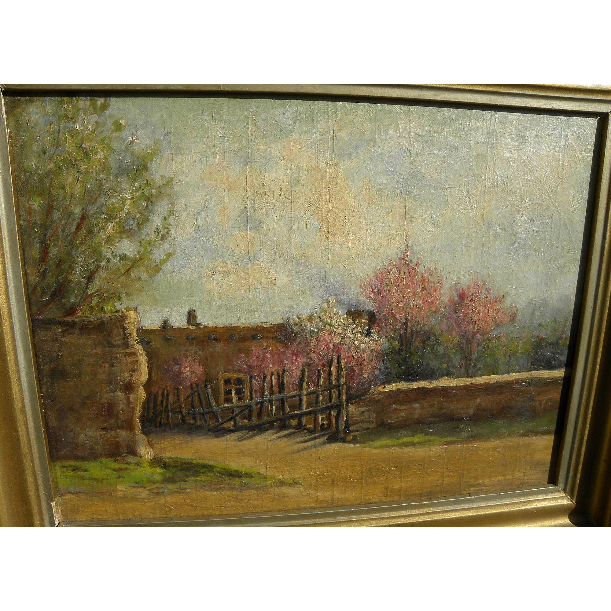 Vintage New Mexico art Santa Fe school impressionist painting of an adobe in the spring