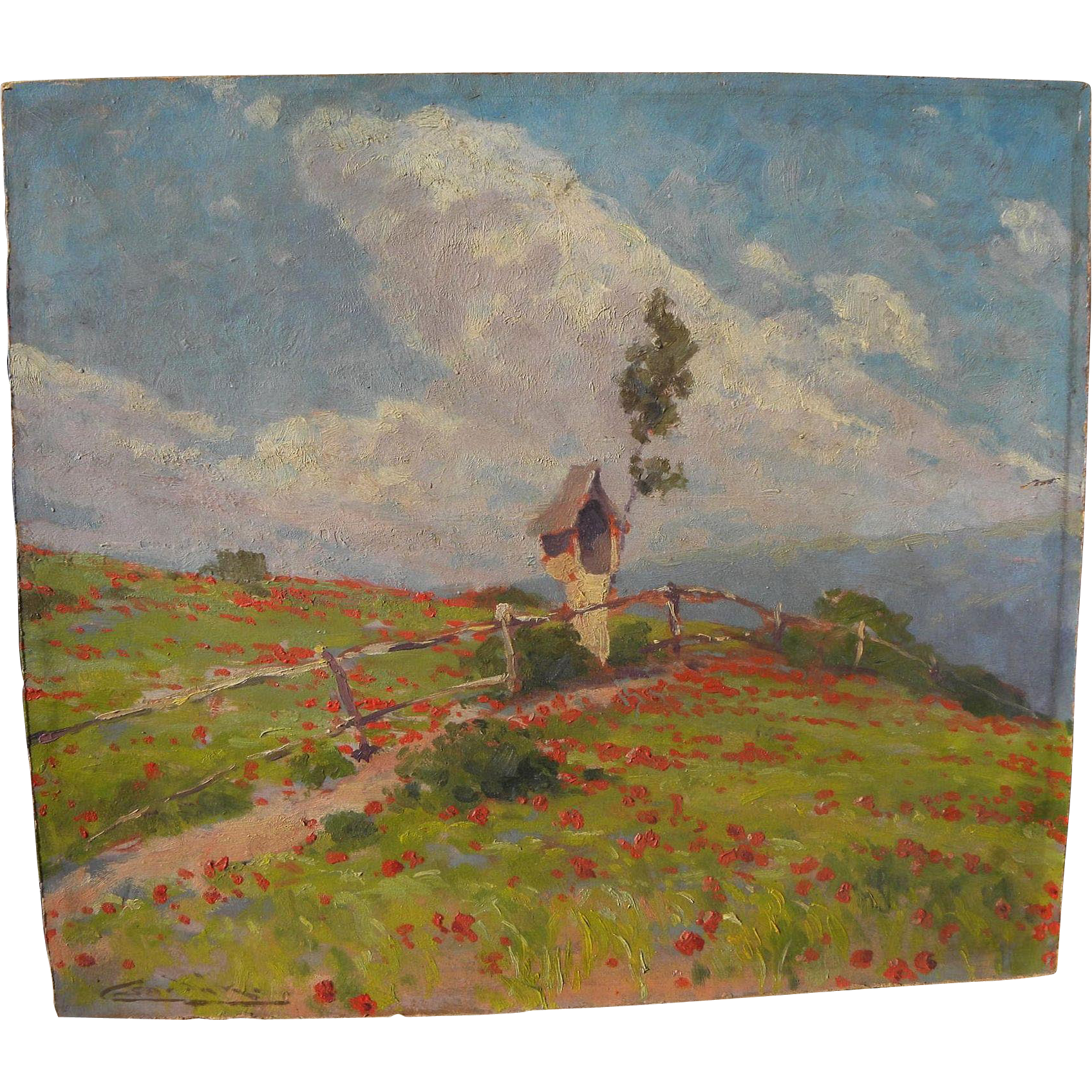 LUDOVIT CSORDAK (1864-1937) impressionist painting of a sunny hillside landscape with poppies by noted Slovak artist