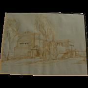 ROGER KUNTZ (1926-1975) California art original study drawing likely for Laguna Art Museum building