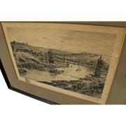 "THOMAS R. MANLEY (1853-1938) pencil signed etching ""Cincinnati"" by listed New Jersey impressionist artist"