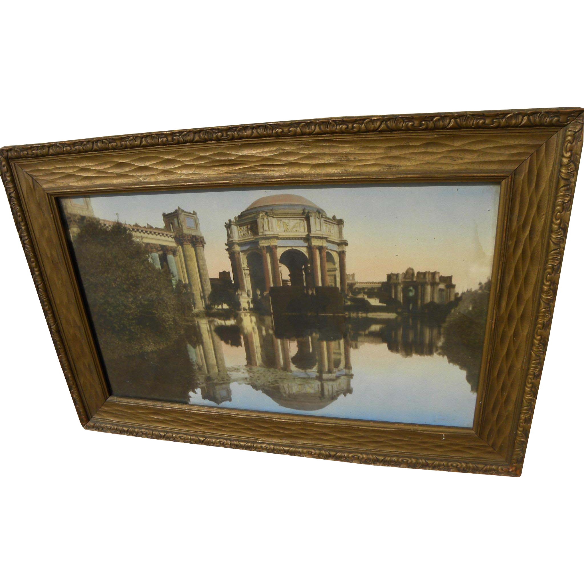 Vintage circa 1920's tinted photo of Palace of Fine Arts in San Francisco in old frame