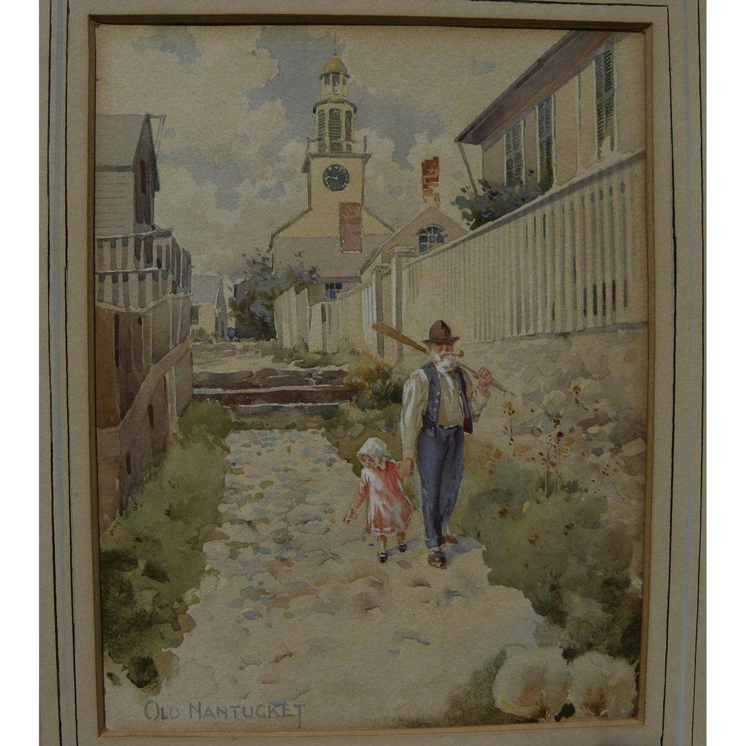 Nantucket Massachusetts fine old 19th century street scene watercolor painting artist unknown