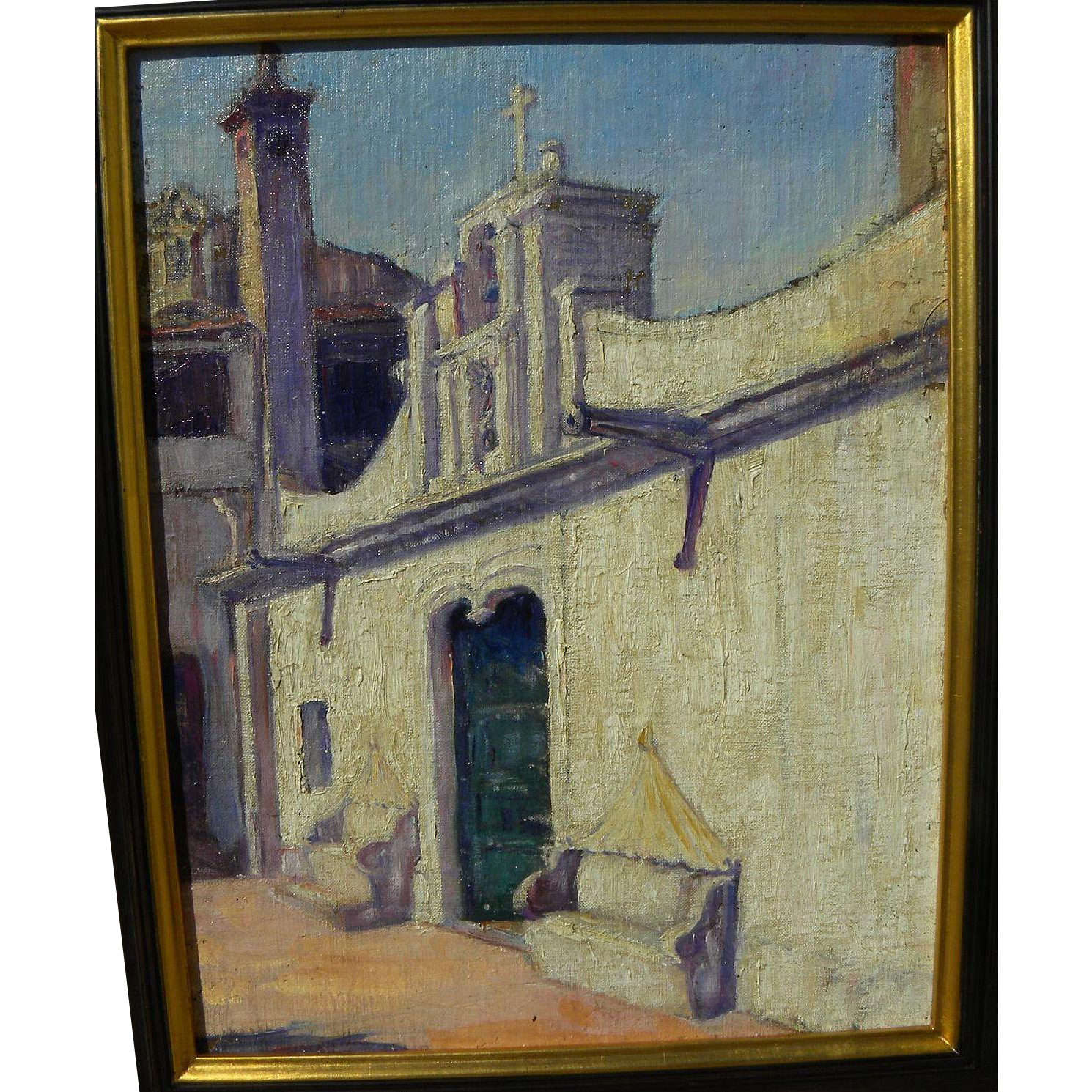 Vintage impressionist painting of sun drenched church architecture