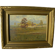 American art old pastel landscape drawing in vintage frame