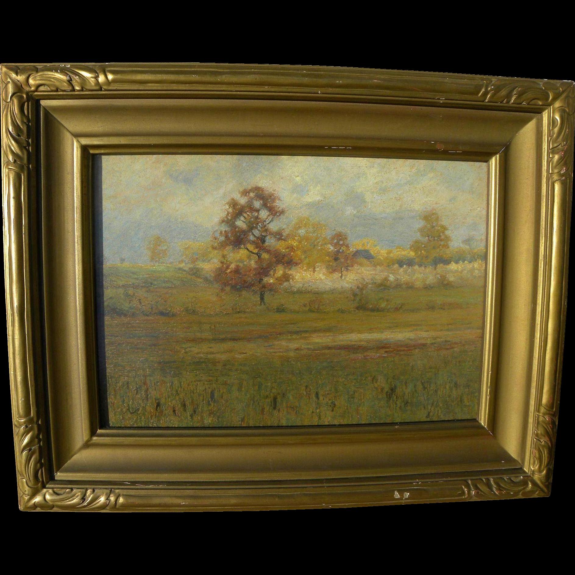 American art old pastel landscape drawing in vintage frame