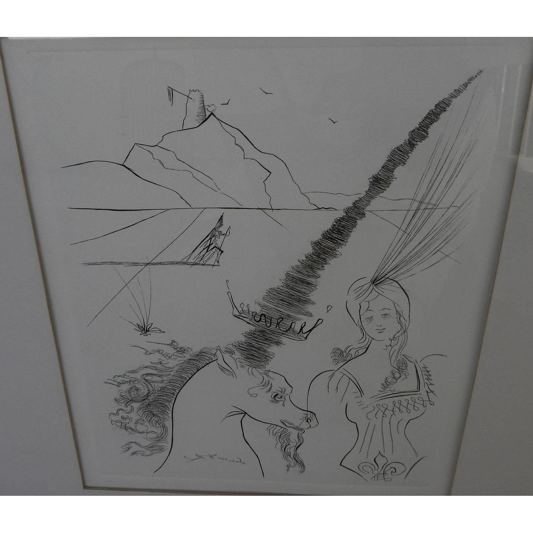 "SALVADOR DALI (1904-1989) original etching ""The Lady and the Unicorn"" of 1966 by the Surrealist master artist"